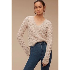 Wilfred Aritzia Messac Sweater Cropped Knit Cream